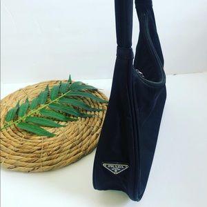 Vintage Prada Nylon Trendy Black Shoulder Bag